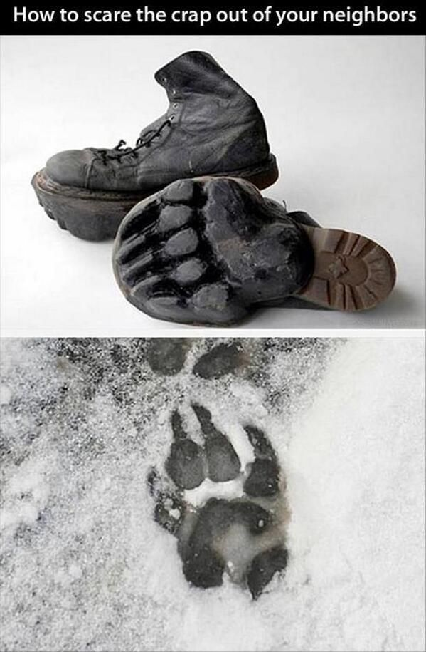 How to scare the crap out of your neighbors - Funny pictures, memes - funvizeo.com - bear feet, bear, funny, troll, snow