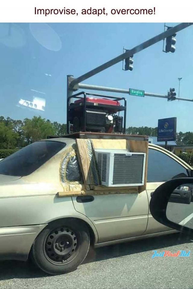Solutions for Summer Heat - Funny pictures, memes - funvizeo.com - car,funny,air conditional,generator