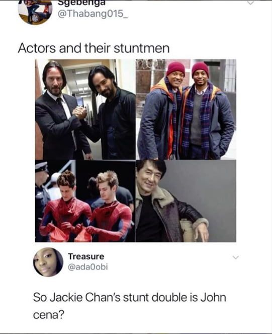 Actors and their stuntmen - Funny pictures, memes - funvizeo.com - memes,funny,actors,stuntmen