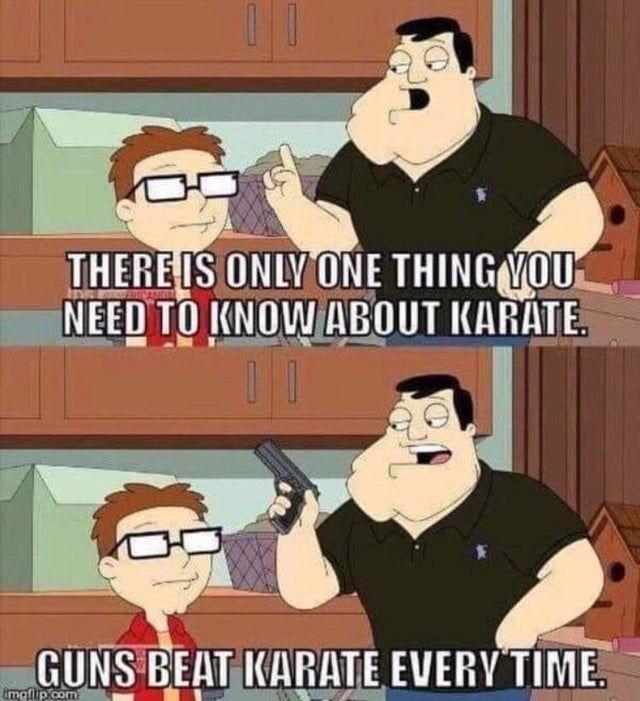 Guns beat karate - Funny pictures, memes - funvizeo.com - comics,gun,funny,karate