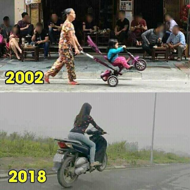 16 years later - Funny pictures, memes - funvizeo.com - baby, baby trike, motorbike, honda sh, funny, funny picture