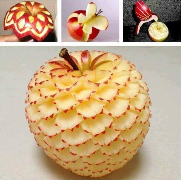 Art Of Apple Carving - Funny Videos - funvizeo.com - Carving art, apple, humor, apple carving butterfly, apple carving bird