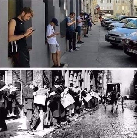 Old days vs nowadays - Funny Videos - funvizeo.com - iphone, humor, newspaper, smartphone, men