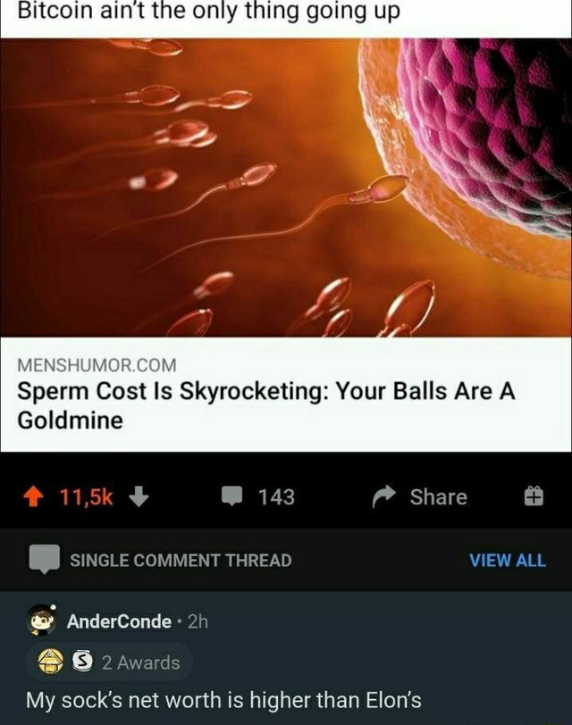 Bitcoin aint the only thing going up Sperm Cost Is Skyrocketing Your Balls Are A Goldmine 143 Share SINGLE COMMENT THREAD VIEW ALL AnderConde 2 Awards My sock's net worth is higher than Elon's memes