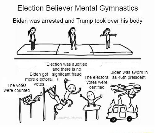 Election Believer Mental Gymnastics Biden was arrested and Trump took over his body Election was ausitied Biden was swom in Biden more got signifcant electoral fraud The etectoral as 46th president more electoral votes  The votes were counted meme