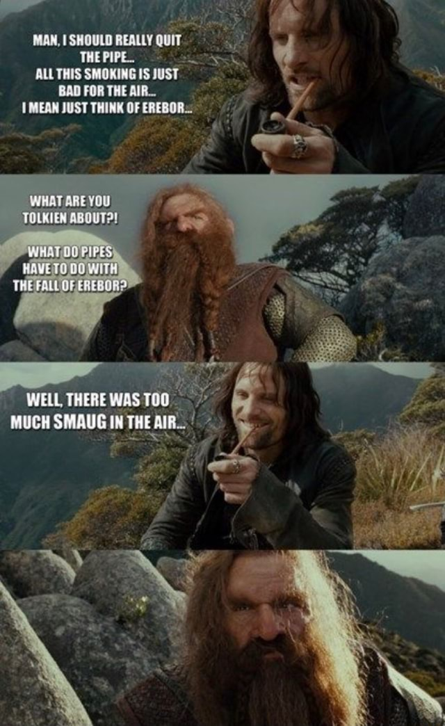 MAN, ISHOULD REALLY QUIT THE PIPEL ALL THIS SMOKING IS JUST FOR THE MEAN JUST THINK OF EREBOR. WHAT ARE YOU TOLKIEN ABOUT  THERE WAS THU MUCH IN THE AIR memes