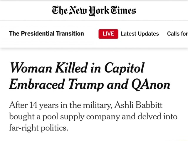 The New The Presidential Transition Latest Updates Calls for Woman Killed in Capitol Embraced Trump and QAnon After 14 years in the military, Ashli Babbitt bought a pool supply company and delved into far right politics memes