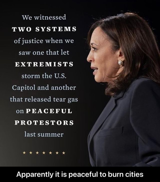 We witnessed TWO SYSTEMS of justice when we saw one that let EXTREMISTS storm the U.S. Capitol and another that released tear gas on PEACEFUL PROTESTORS last summer Apparently it is peaceful to burn cities Apparently it is peaceful to burn cities meme