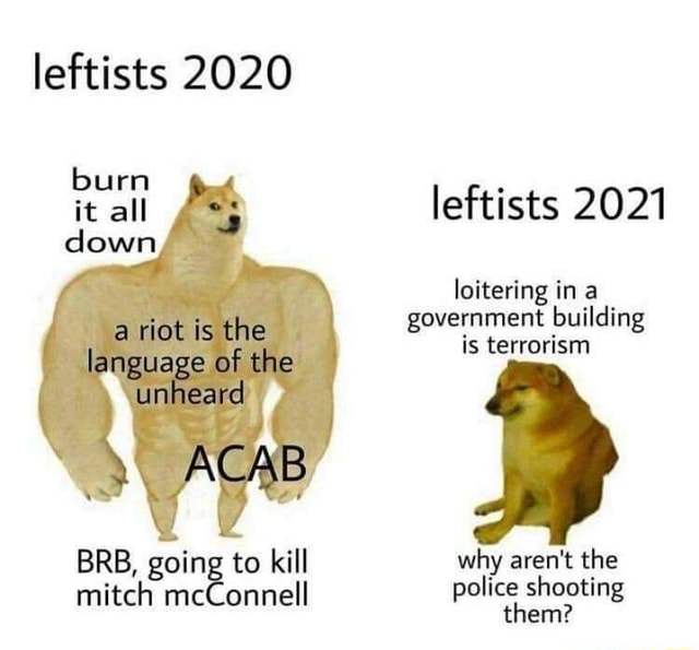 Leftists 2020 burn it all leftists 2021 down riot is loitering in a government building language of the CAB is terrorism BRB, going to kill why aren't the mitch mcConnell police shooting them memes