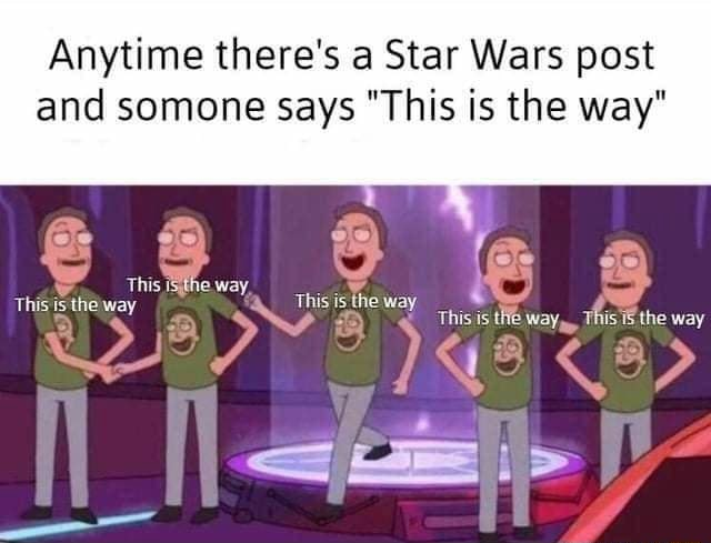 Anytime there's a Star Wars post and somone says This is the way This iSithe way, Thisis th is is the way Thisis the way, This the way memes