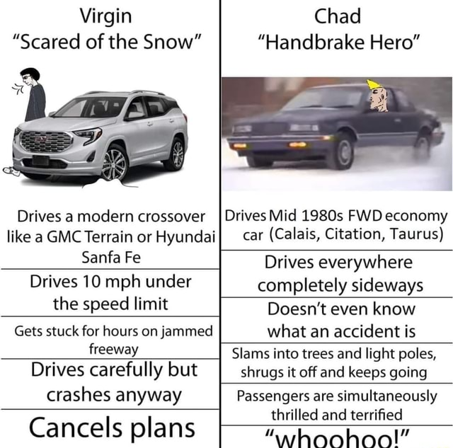Chad Handbrake Hero Virgin Scared of the Snow Drives Mid 1980s FWD economy car Calais, Citation, Taurus Drives a modern crossover like a GMC Terrain or Hyundai Sana Fe Drives 10 mph under the speed limit Drives everywhere completely sideways Doesn't even know what an accident is Slams into trees and light poles, shrugs it off and keeps going Gets stuck for hours on jammed freeway Drives carefully but crashes anyway Cancels plans Passengers are simultaneously thrilled and terrified meme