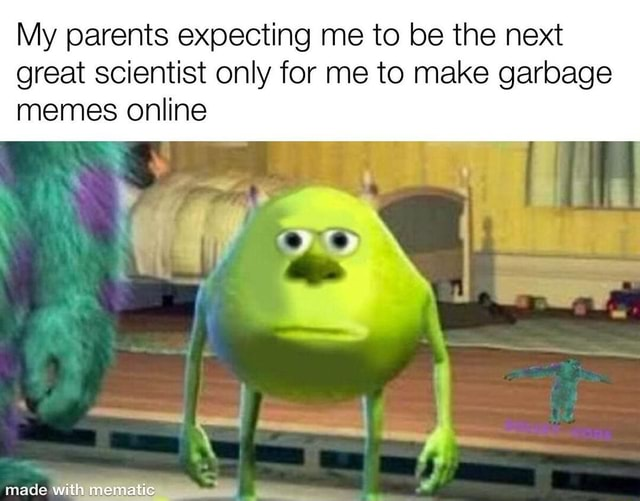 My parents expecting me to be the next great scientist only for me to make garbage memes online mann