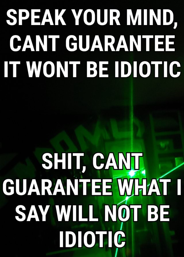 SPEAK YOUR MIND, CANT GUARANTEE IT WONT BE IDIOTIC SHIT, CANT. GUARANTEE WHAT I SAY WILL NOT BE IDIOTIC memes