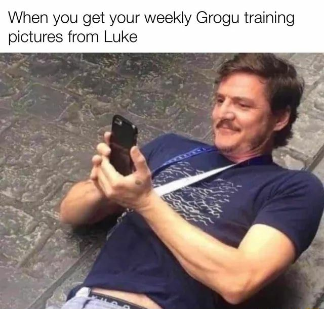 When you get your weekly Grogu training pictures from Luke meme