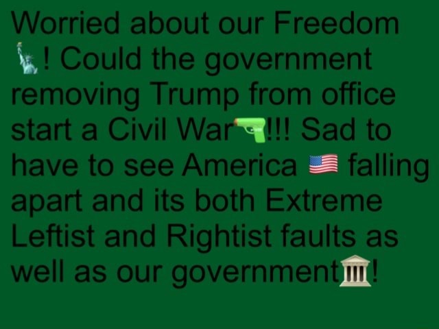 Worried about our Freedom Could the government removing Trump from office start a Civil War Sad to have to see America falling apart and its both Extreme Leftist and Rightist faults as well as our government memes