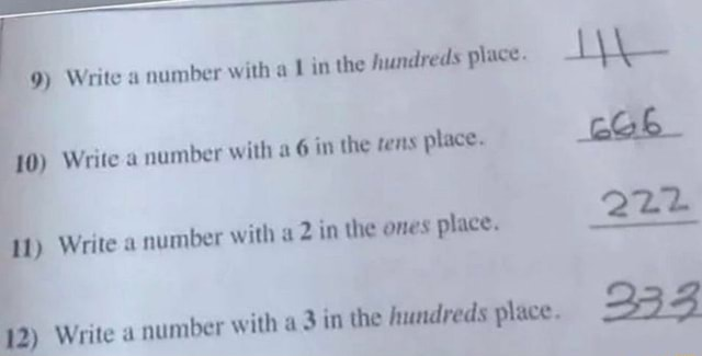 Write a number with a in the hundreds place Write number with in the fens place. 222 Write a number with 6 in the fens place. Write a number with in the ones place. Write a number with in the hundreds place. 333 memes