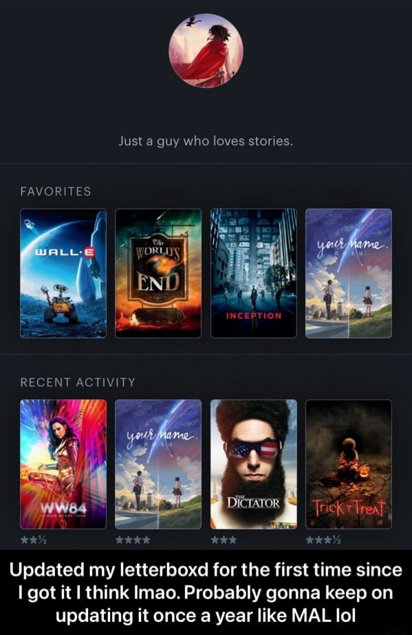 Just a guy who loves stories. FAVORITES RECENT TY Updated my letterboxd for the first time since I got it I think Imao. Probably gonna keep on updating it once a year like MAL lol Updated my letterboxd for the first time since I got it I think lmao. Probably gonna keep on updating it once a year like MAL lol memes