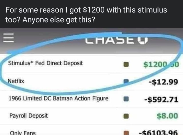 For some reason I got $1200 with this stimulus too Anyone else get this Stimulus* Fed Direct Deposit Netflix 1966 Limited DC Batman Action Figure Payroll Deposit Only Fans DD $120040 $592.71 $8.00 06 memes