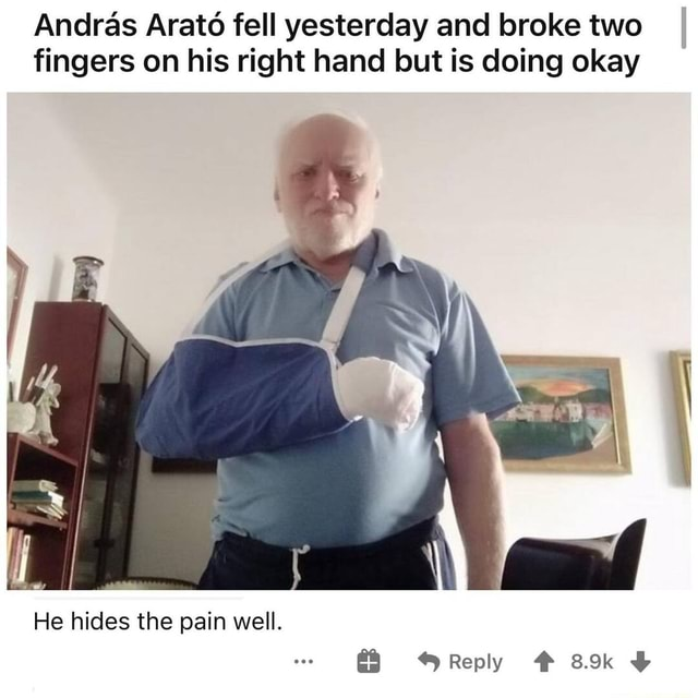Andras Arato fell yesterday and broke two I fingers on his right hand but is doing okay He hides the pain well. Reply  meme
