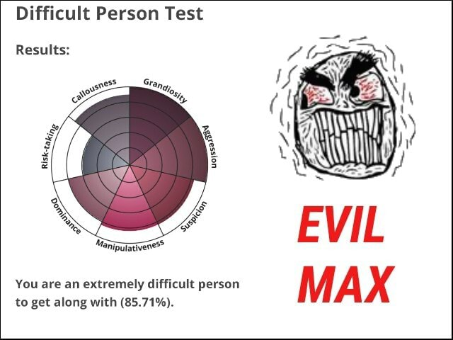 Difficult Person Test Results You are an extremely difficult person MAX to get along with 85.71% memes