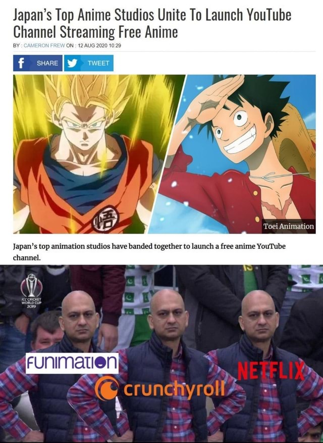 Japan's Top Anime Studios Unite To Launch YouTube Channel Streaming ON 12 AUG 2020 Free Anime ON  12 AUG 2020 Animation Japan's top animation studios have banded together to launch a free anime YouTube channel. SE memes