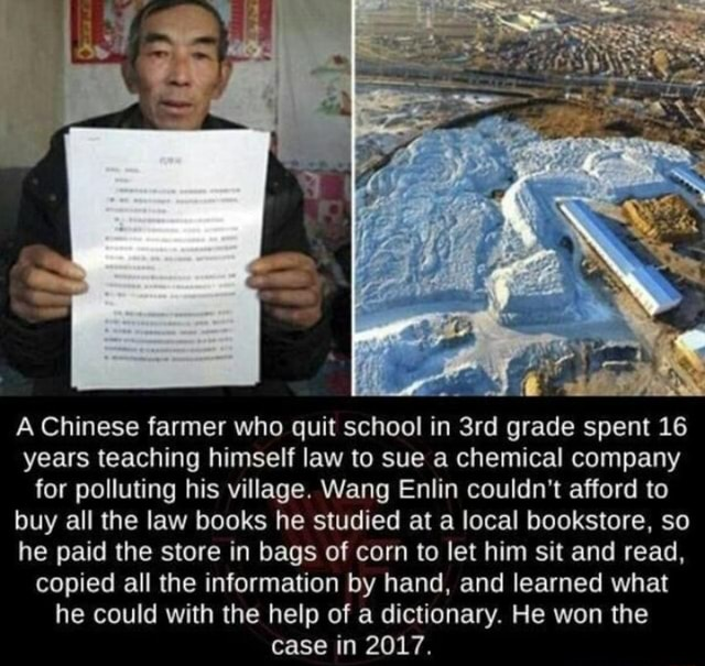 A Chinese farmer who quit school in grade spent 16 years teaching himself law to sue a chemical company for polluting his village. Wang Enlin couldn't afford to buy all the law books he studied at a local bookstore, so he paid the store in bags of corn to let him sit and read, copied all the information by hand, and learned what he could with the help of a dictionary. He won the case in 2017 memes