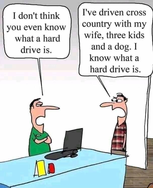 I do not think you even know what a hard drive is. I've driven cross country with my wife, three kids and a dog. know what a hard drive is meme