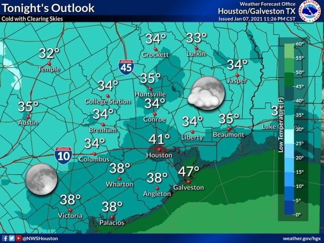 Weather Forecast Office Tonight's Outlook TX Issued Jan 07, 2021 PM CST Cold with Clearing Skies Beaumont Liberty tureI Low Temperal Houston Wharton Angleton Victoria Palacios NWsHouston Galveston Angleton memes