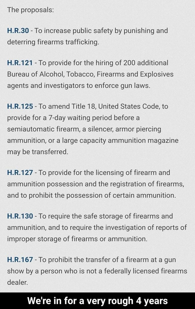 The proposals H.R.30 To increase public safety by punishing and deterring firearms trafficking. H.R.121 To provide for the hiring of 200 additional Bureau of Alcohol, Tobacco, Firearms and Explosives agents and investigators to enforce gun laws. H.R.125 To amend Title 18, United States Code, to provide for a 7 day waiting period before a semiautomatic firearm, a silencer, armor piercing ammunition, or a large capacity ammunition magazine may be transferred. H.R.127 To provide for the licensing of firearm and ammunition possession and the registration of firearms, and to prohibit the possession of certain ammunition. LR. To require the safe storage of firearms and ammunition, and to require the investigation of reports of improper storage of firearms or ammunition. H.R.167 To prohibit the t