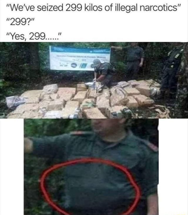 We've seized 299 kilos of illegal narcotics  299  Yes, 299 ay memes