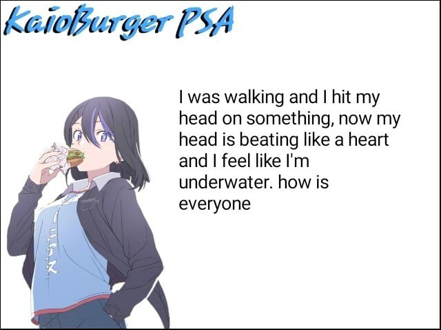 Kaioburger PSA was walking and I hit my head on something, now my head is beating like a heart and I feel like I'm underwater. how is everyone memes