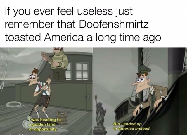 If you ever feel useless just remember that Doofenshmirtz toasted America a long time ago CHIY eries instead memes