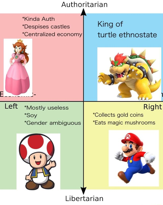 Authoritarian *Kinda Auth Despises castles King of *Centralized economy turtle ethnostate Left mostly useless Right *Soy *Collects gold coins *Gender ambiguous *Eats magic mushrooms Libertarian memes