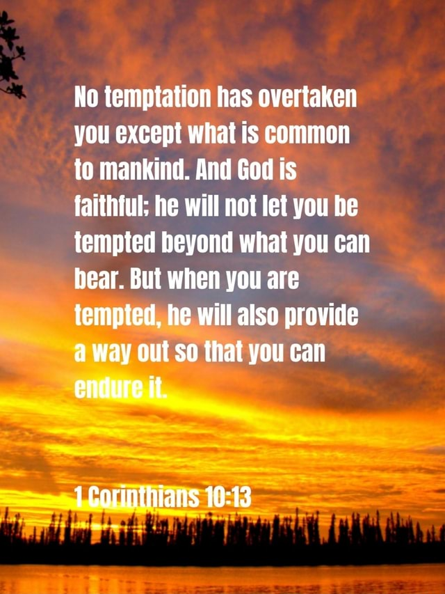 No temptation has overtaken you except what is common to mankind. And God is faithful he will not let you be tempted beyond what you can bear. But when you are tempted, he will also provide a way out so that you can endure it. 1 Corinthians memes