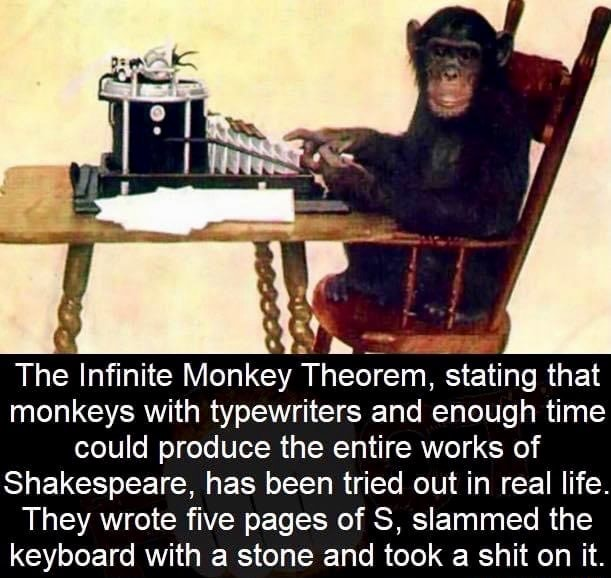 The Infinite Monkey Theorem, stating that monkeys with typewriters and enough time could produce the entire works of Shakespeare, has been tried out in real life They wrote five pages of S, slammed the keyboard with stone and took a shit on it meme