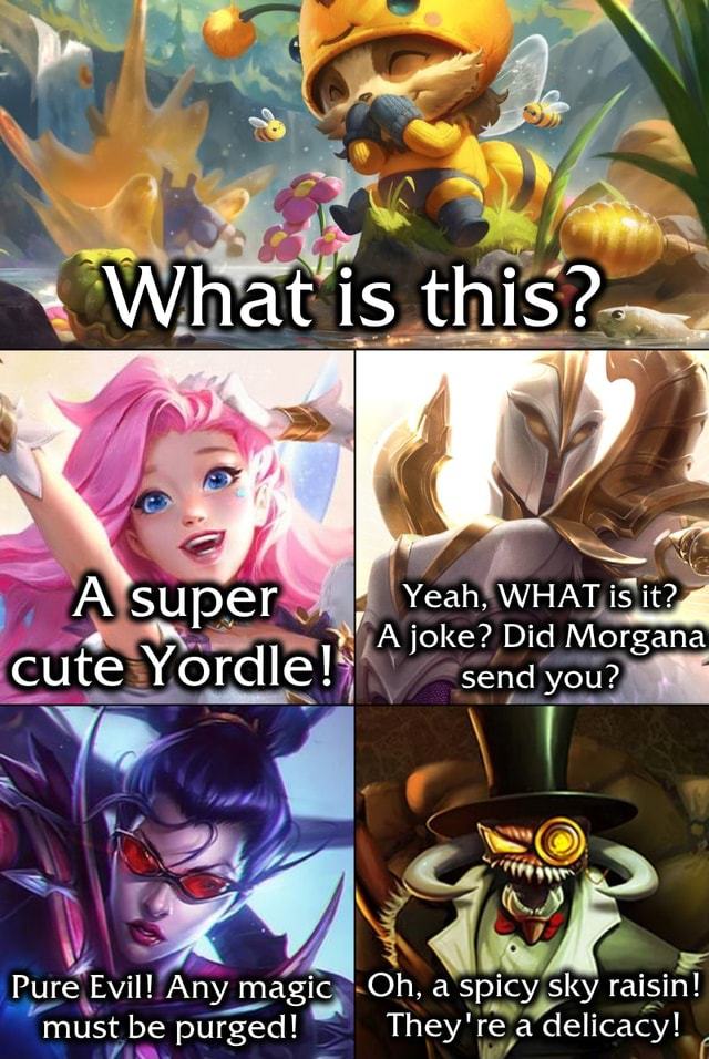 XX g j A super Yeah, joke WHAT is it joke Did Morgana cute Yordle send you Pure Evil Any magic Oh, a spicy sky raisin must be purged They're a delicacy memes