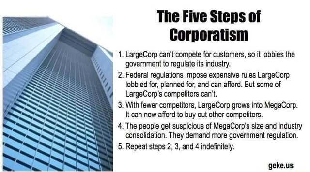 The Five Steps of Corporatism LargeCorp can not compete for customers, so it lobbies the government to regulate its industry. 2. Federal regulations impose expensive rules LargeCorp lobbied for, planned for, and can afford. But some of LargeCorp's competitors can not. 3. With fewer competitors, LargeCorp grows into MegaCorp. It can now afford to buy out other competitors. 4. The people get suspicious of MegaCorp's size and industry consolidation. They demand more government regulation. 5. Repeat steps 2, 3, and 4 indefinitely. NE SS SS SS SS SS geke.us meme