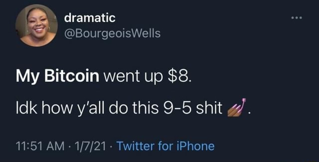 Dramatic BourgeoisWells My Bitcoin went up $8. Idk how y'all do this 9 5 shit g'. AM Twitter for iPhone memes