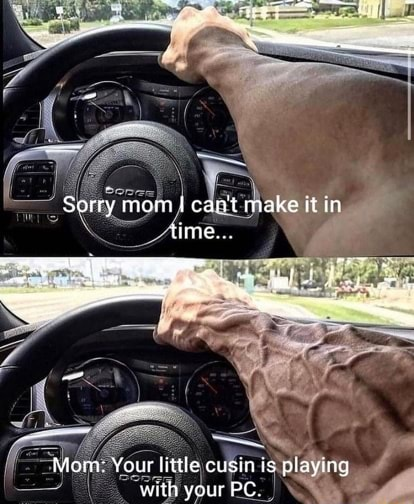 Sorry mom lecan not make it ia time. Monr Your litte cus is playing with your PC memes