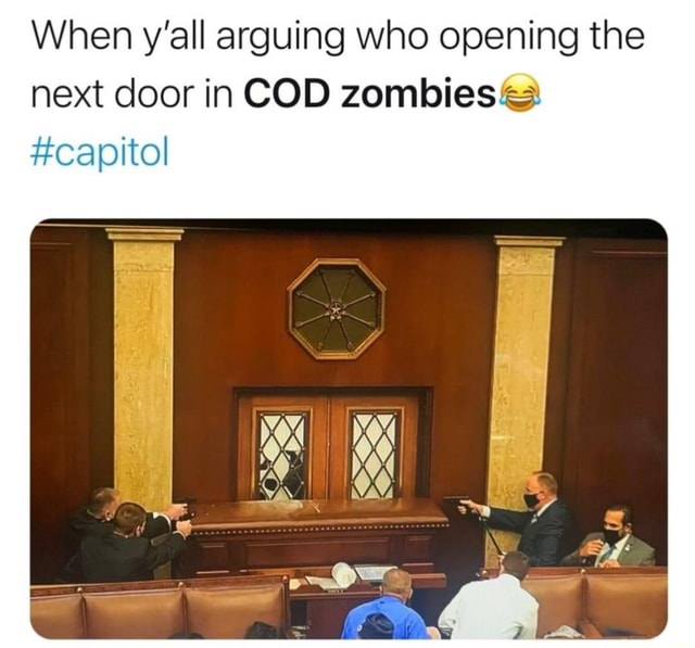 When y'all arguing who opening the next door in COD zombies capitol memes