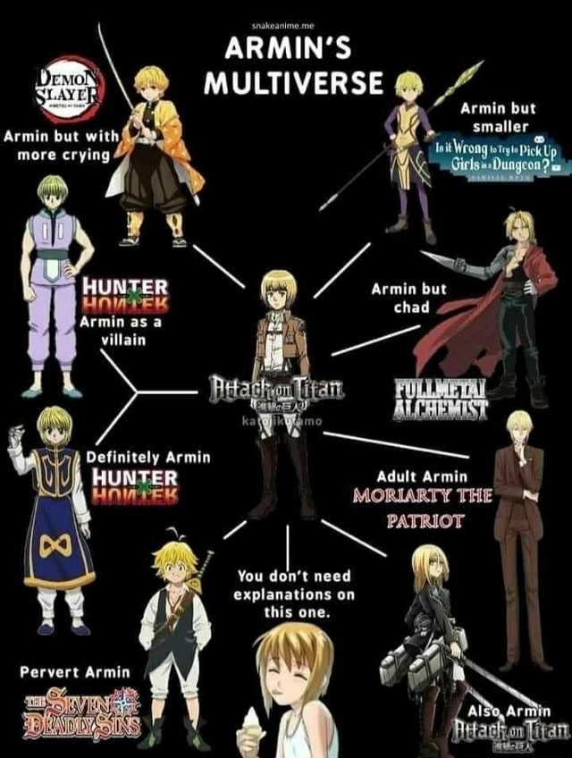 ARMIN'S MULTIVERSE Armin but Acmin but with smaller more HUNTER Armin but Armi as chad rmin as a villain Armin UNTER Adult Armin MORIARTY THE f I Pervert You do not need explanations on this one. Also, Ar hia n {itant memes