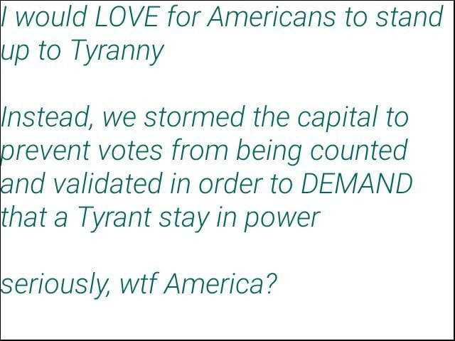 Would LOVE for Americans to stand up to Tyranny Instead, we stormed the capital to prevent votes from being counted and validated in order to DEMAND that a Tyrant stay in power Seriously, wtf America memes