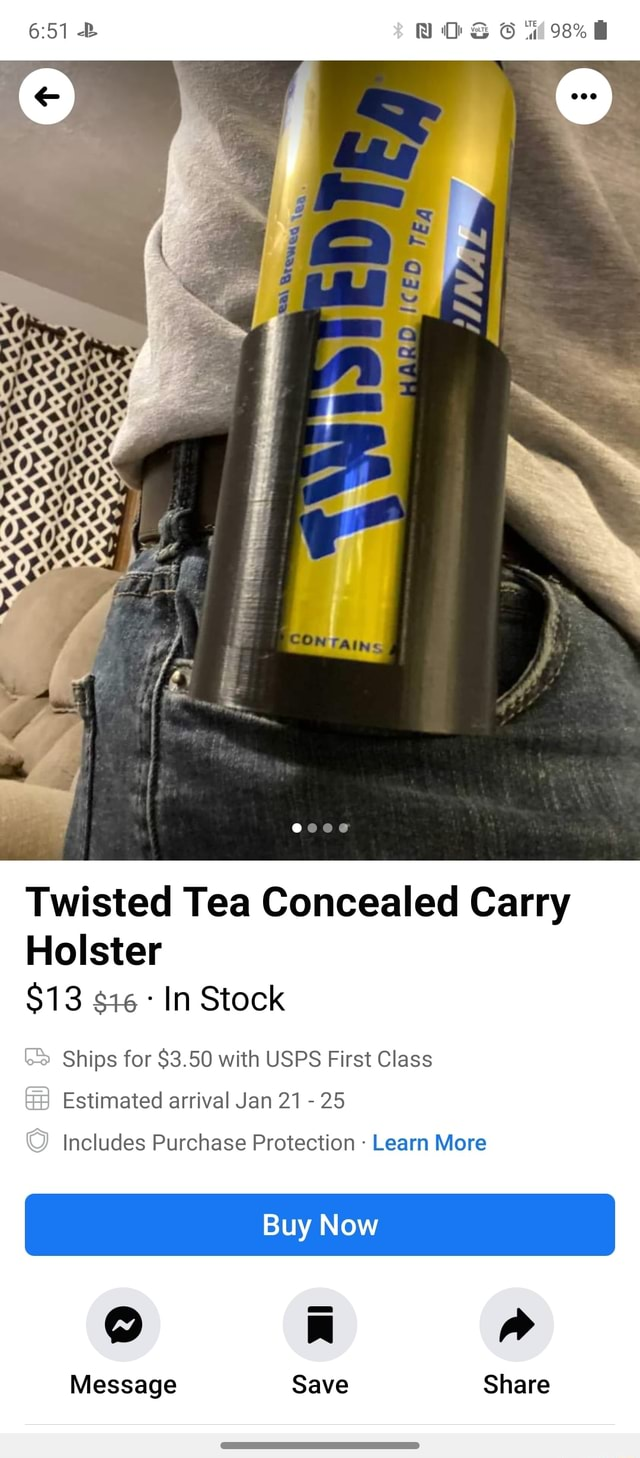 NOS 98% 0 OS Twisted Tea Concealed Carry Holster $13 In Stock Ships for $3.50 with USPS First Class Estimated arrival Jan 21 25 Includes Purchase Protection Learn More Buy Now Message Save Share memes