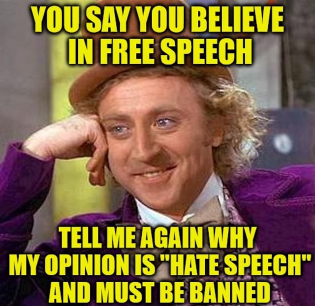 YOU SAY. YOU BELIEVE TELL ME AGAIN, WHY MY OPINION IS HATE SPEECH AND MUST BE BANNED memes