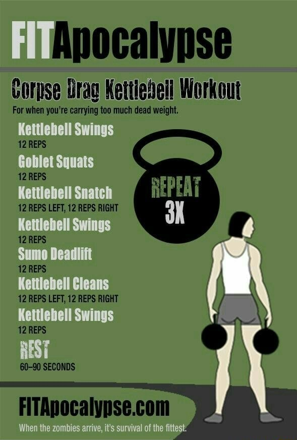 Apocalypse Corpse Drag Workout EPEAT For when you're carrying too much dead weight, Kettlebell Swings 12 REPS Goblet Squats 12 REPS 12 REPS LEFT, 12 REPS RIGHT Kettlebell Swings 12 REPS 12 REPS Kettlebell Cleans 12 REPS LEFT, 12 REPS RIGHT Kettlebell Swings 12 REPS REST 60 90 SECONDS When the zombies arrive, it's survival of the fittest memes