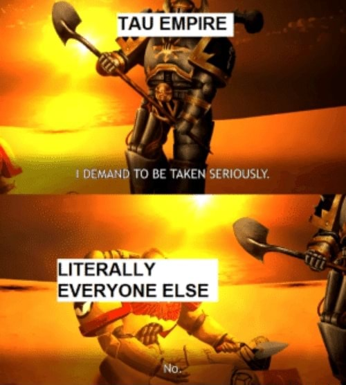 TAU EMPIRE DEMAND TO BE TAKEN SERIOUSLY. LITERALLY EVERYONE ELSE No meme