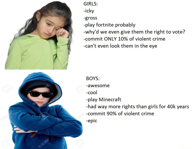 GIRLS  icky gross play fortnite probably why'd we even give them the right to vote  commit ONLY 10% of violent crime can not even look them in the eye BOYS  awesome cool play Minecraft had way more rights than girls for years commit 90% of violent crime epic memes