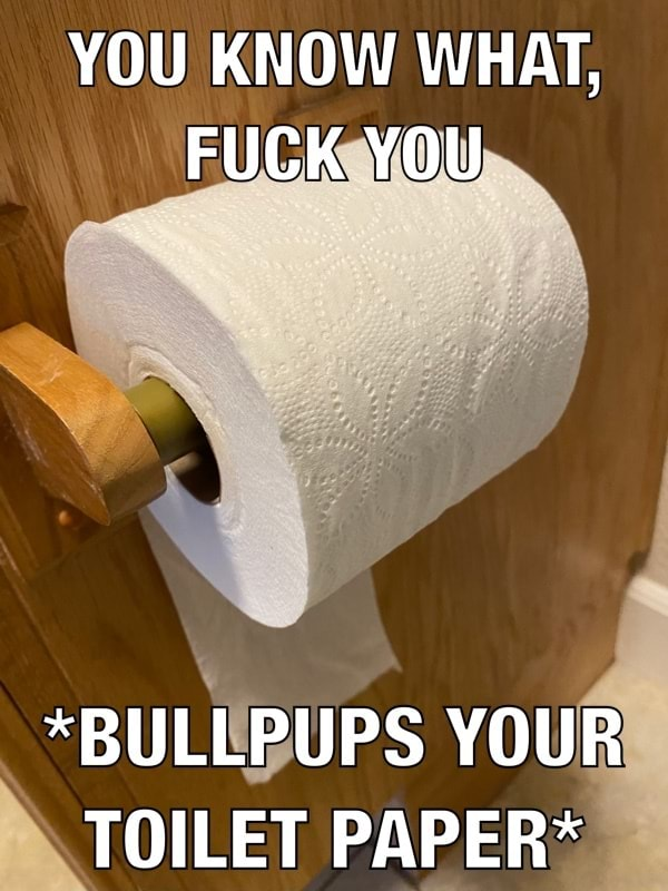 YOU KNOW WHAT, FUCK YOU *BULLPUPS YOUR TOILET PAPER* memes