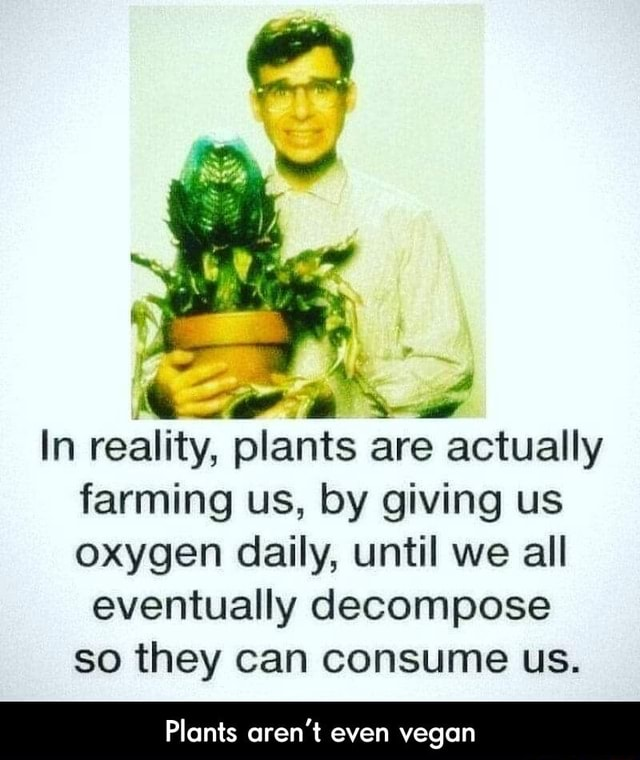 In reality, plants are actually farming us, by giving us oxygen daily, until we all eventually decompose so they can consume us. Plants aren't even vegan  Plants aren't even vegan memes
