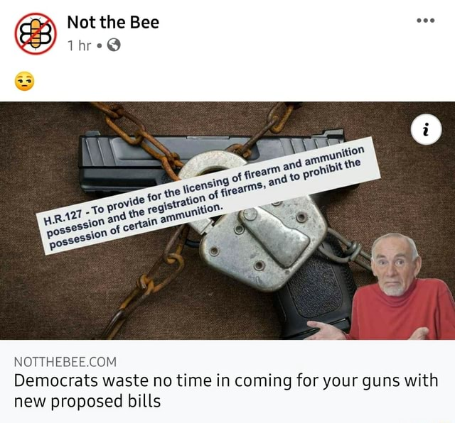 Not the Bee Thre vide certain sS possession Democrats waste no time in coming for your guns with new proposed bills memes